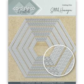 Card Deco Essentials Cutting Dies Stitch Hexagon CDECD0030