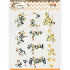3D cutting sheet - Precious Marieke - Spring Delight - Violets and Daffodils CD11434