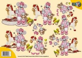 3D A4 Knipvel Creddy baby roze hobbelpaard CW10017