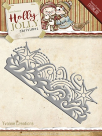 Die - Yvonne Creations - Holly Jolly - Snowflake Border YCD10069