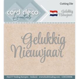 Card Deco Essentials - Cutting Dies - Gelukkig Nieuwjaar CDECD0036