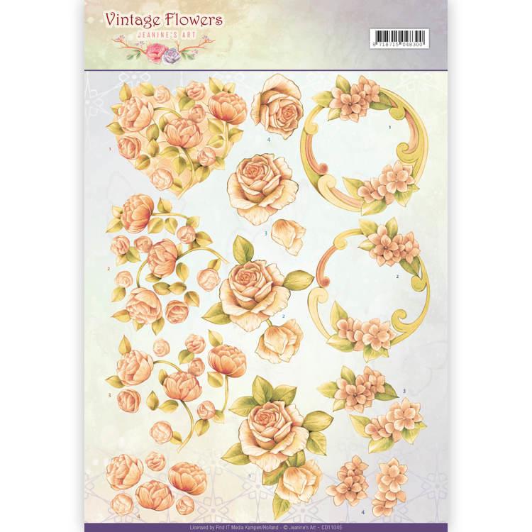 3D Knipvel - Jeanine's Art - Vintage Flowers - Romantic Vintage CD11045
