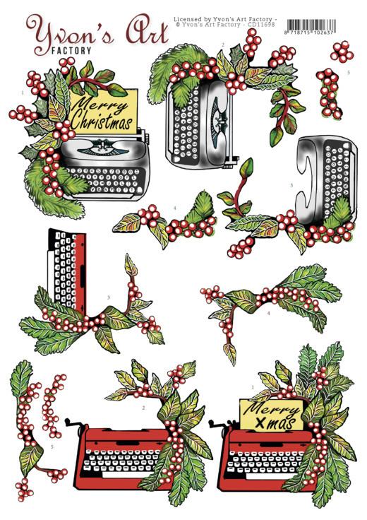 3D Cutting Sheet - Yvon's Art - Christmas Typewriter CD11698