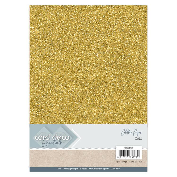 Card Deco Essentials Glitter Paper Gold CDEGP010