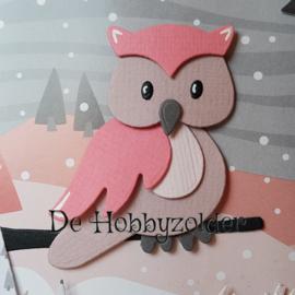 Winterse kaart in roze en grijs