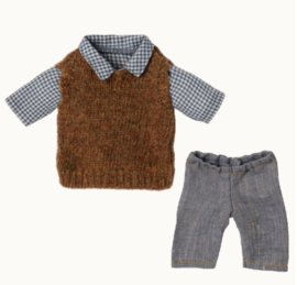 MAILEG   Kleding voor knuffelbeer Teddy Dad -  broek, blouse & spencer