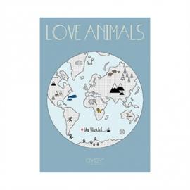 OYOY MINI POSTER LOVE ANIMALS - WERELDKAART