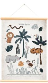 LITTLE & PURE | Praatplaat - schoolplaat wilde dieren vintage (ABC)