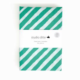 STUDIO DITTE | Hoeslaken Strepen groen - 1 persoon
