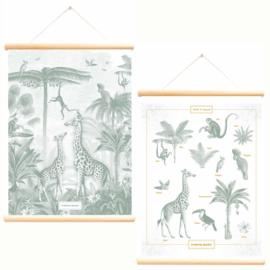 LITTLE & PURE | Schoolplaat met bladgoud Giraf en Aapjes - Pimpelmees