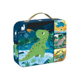 JANOD | Puzzel Dinosaurussen in koffer - 6, 9, 12 en 16 stukjes