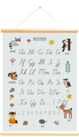 LITTLE & PURE | Praatplaat - schoolplaat bosdieren alfabet blauw