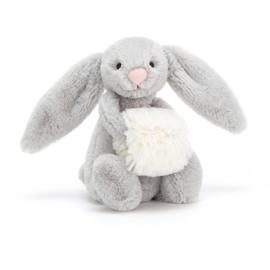 JELLYCAT | Knuffel Bashful zilver sneeuw konijn (18cm)