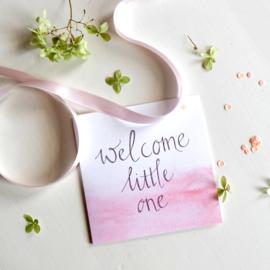 MIJKSJE | Kaart 'welcome little one' roze