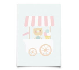 EEF LILLEMOR ANSICHTKAART PARTY ANIMALS - ICE CREAM CART