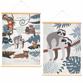 LITTLE & PURE | Schoolplaat wilde dieren luiaard