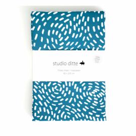 STUDIO DITTE | Hoeslaken Flow blauw - 1 persoon