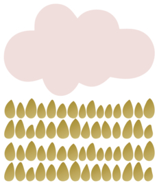 PÖM LE BONHOMME | Muursticker wolk & druppel goud  roze