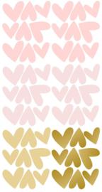 PÖM LE BONHOMME | Muurstickers hartjes roze en goud