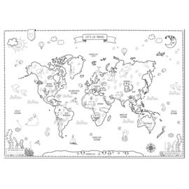 DESIGN CLAUD | Poster - Kleurplaat wereldkaart
