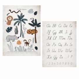 LITTLE & PURE | Poster wilde dieren ABC vintage (dubbelzijdig!)