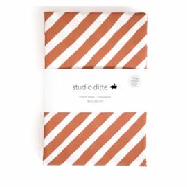 STUDIO DITTE | Hoeslaken Strepen roestbruin - 1 persoon