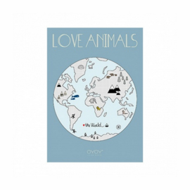 OYOY MINI POSTER LOVE ANIMALS - WERELDKAART