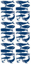 POM LE BONHOMME | Muurstickers Walvis blauw