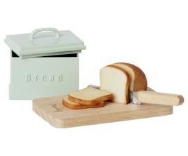 MAILEG   Miniatuur brood box met mes & brood