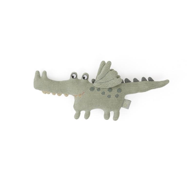 OYOY MINI | Rammelaar knuffel Buddy krokodil groen