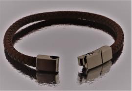 BJ-006 Bruin Leren Armband met roestvrijstalen magneet sluiting