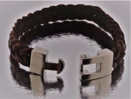 BJ-007 Bruin Leren Armband met roestvrijstalen sluiting
