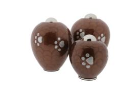 Celine urn Donker bruin met pootjes  10892 ( afdichting kan aan beide kanten verwisseld worden )