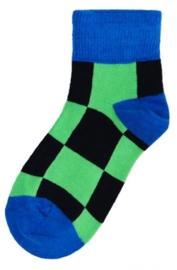 Kinder enkel sokken - blauw groene blokjes