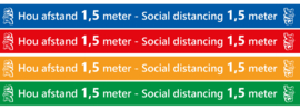 "10x Sticker ""Hou afstand 1,5 m - Social distancing 1,5 m"""