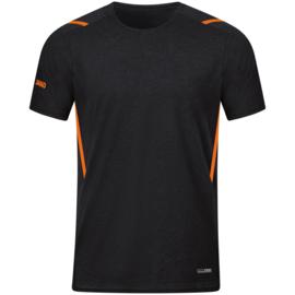 6121-506 T-shirt Challenge Zwart gemeleerd fluo oranje