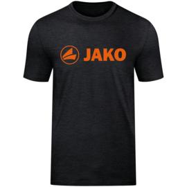 Promo T-shirt JAKO (katoen)  6160-506 Zwart gemeleerd /fluo oranje