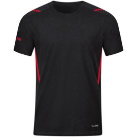 6121-502 T-shirt Challenge Zwart gemeleerd rood