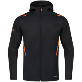 9821-506 Vrijetijdsvest met kap Zwart gemeleerd fluo oranje