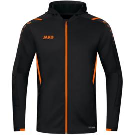 6821-807 Jas met kap Challenge Zwart fluo oranje