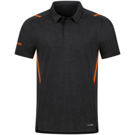 6321-506 Polo Challenge Zwart gemeleerd  fluo oranje