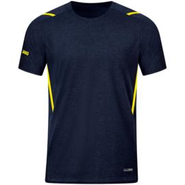 6121-512 T-shirt Challenge Marine gemeleerd fluogeel