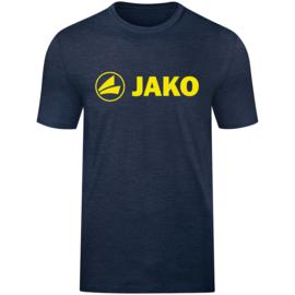 Promo T-shirt JAKO (katoen)  6160-512 Marine gemeleerd /fluogeel
