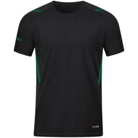 6121-503 T-shirt Challenge Zwart gemeleerd sportgroen