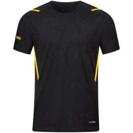 6121-505 T-shirt Challenge Zwart gemeleerd citroen