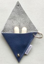 Sleutelhanger leer, voor geld of tampon, 10x10cm