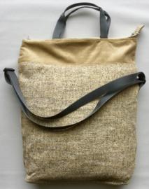 Tas met lang en kort hengsel, 42x47(33)cm, geweven stof en ribfluweel.