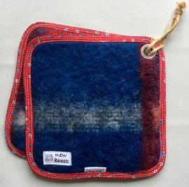 Pannenlap, deken, blauw/rood, 20x20cm