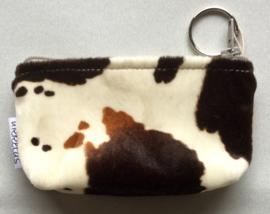 Portemonnee met sleutelring, koeienprint , 13x8cm