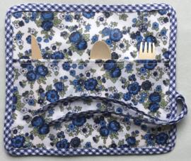 Bestekbag, stof met gecoate katoen, 22x24 (dicht 8cm).